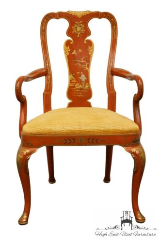 KINDEL Grand Rapids Red & Gold Chinoiserie Chinese Arm Chair
