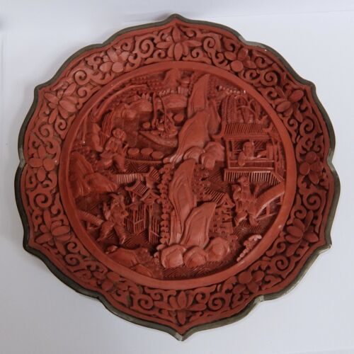 ANTIQUE CHINESE CARVED CINNABAR SCENIC PLAQUE OR TRAY