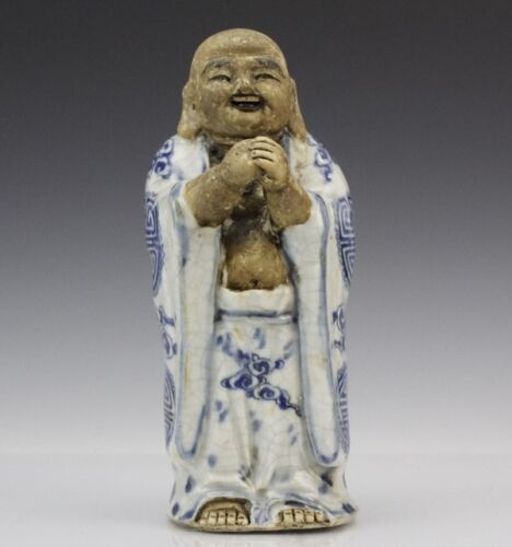 Chinese Export Blue White Porcelain Buddha Deity Happy Hotei Statue Sculpture NR
