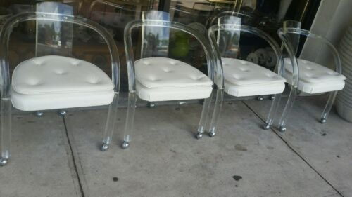 Set 4 Shepard Vintage Lucite Dining Club Chairs Mid Century Modern