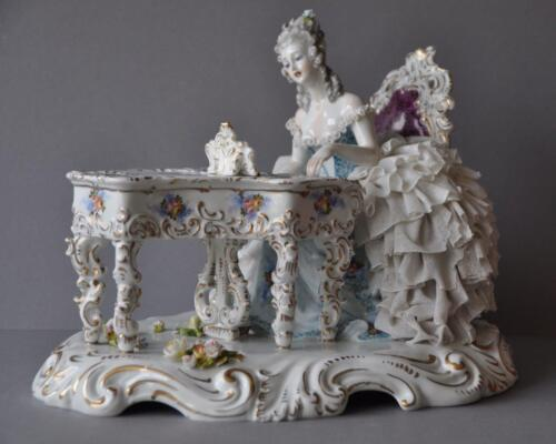 Large Porcelain Dresden Lace Figural Music Pianist Figurine Capodimonte Group .