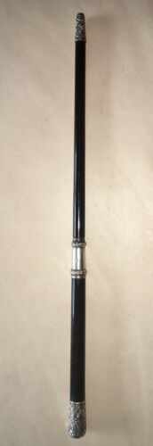 Antique Conductor's Baton With Sterling Mounts And Original Case