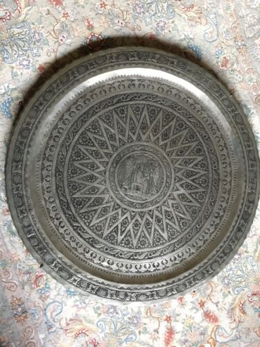 """VINTAGE PERSIAN COPPER TRAY ETCHED ISLAMIC  GHALAMZANI ESFAHAN SILVER TONE 34"""""""