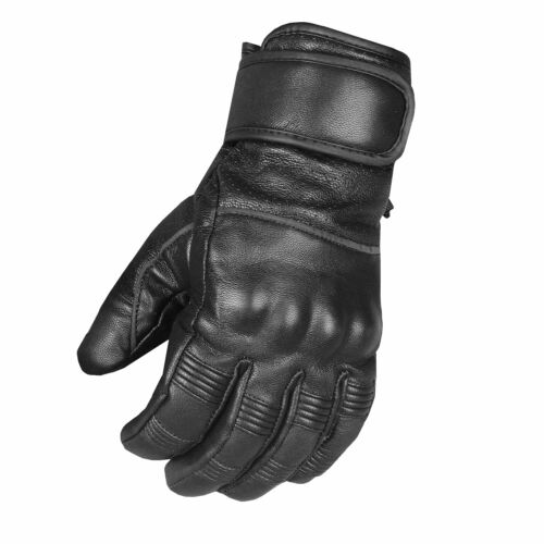 Men's Motorcycle Ventilated Leather Armor Gel Padded Reflective Biker Gloves