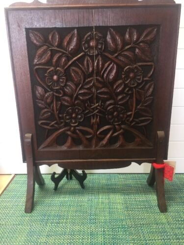 "Antique English Dark Oak Hand Carved Fireplace Screen 27"" X 20""."