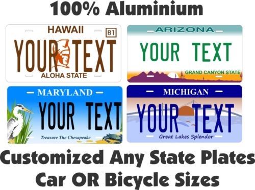 Any State Any Text License Plate Personalized Custom Auto Car Bike Bicycle Tag <br/> All 50 States Alaska to West Virginia !!Very Popular!!!