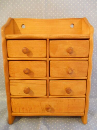 Vintage Primitive 7 Drawer Hanging Wood Spice Box by Fraber / Italy