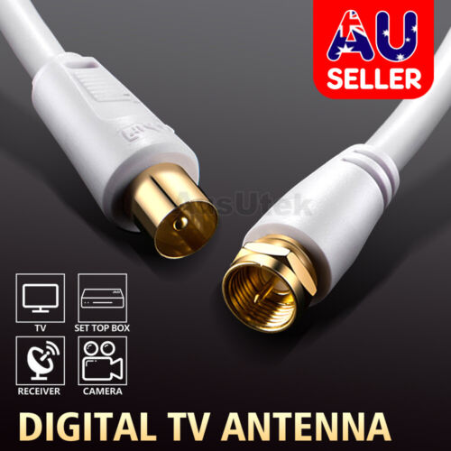 1.8M 3M 5M 10M TV Antenna Cable PAL Male to F-Type Flylead Aerial Cord Coax Lead