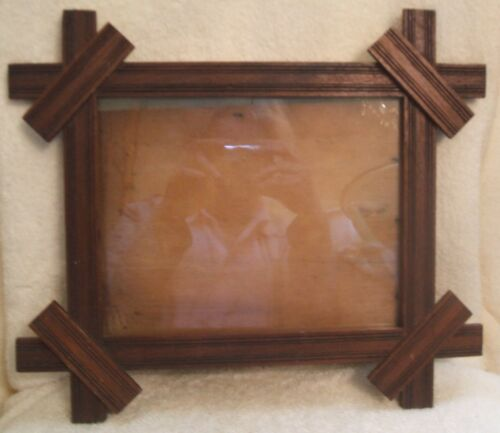 Vintage Tramp Art Dark Wood Picture Frame with Glass Arts and Crafts