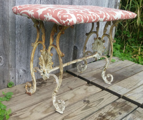 Antique Shabby Rusty White Upholstered Piano Music Bench w/ Cast iron Legs
