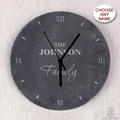 PERSONALISED Kitchen Slate Clock, Family Name. Wedding, New Home Gift Idea
