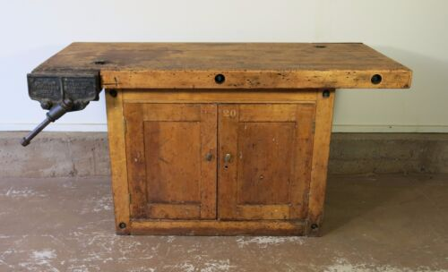 Antique Vintage Carpenters Workbench With Cabinet Industrial table