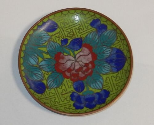 "GREEN CLOISONNE ENAMEL 3""3/4 IN DIAMETER PLATE"