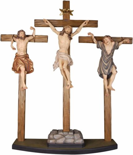 CROCIFISSIONE - CRUCIFiXION GROUP In Legno Scolpito..WOOD-Carved