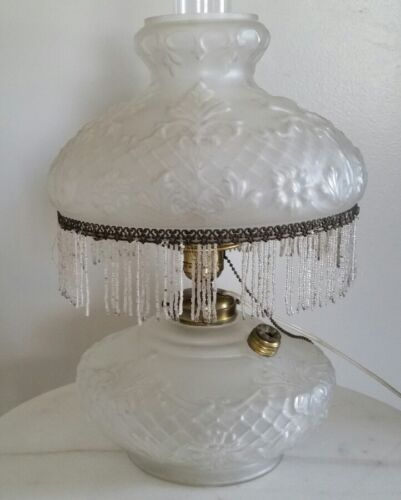 ANTIQUE CONSOLIDATED SATIN GLASS OIL LAMP ORNATE FLORAL CONVERTED TO ELECTRIC
