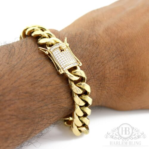 Men Cuban Miami Link 10mm Thick Bracelet Stainless 14k Gold Plated Diamond Clasp