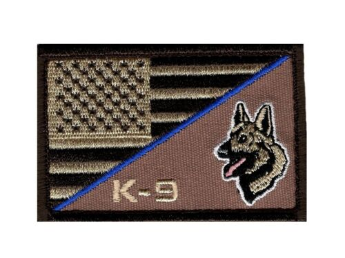 K9 PVC Morale Paw Patch 3D Tactical Airsoft Badge Hook Black Blue Canine #78