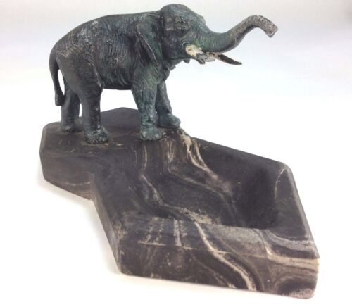 Antique Vienna Austria Cold Painted Bronze Lucky Elephant Marble Ashtray/Trinket