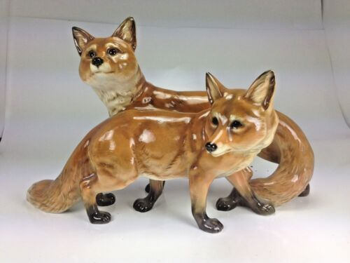 """Vingtage Large """"Two Red Foxes Grouping"""" Porcelain Statue Hutschenreuther Selb"""