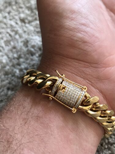 Men Cuban Miami Link 14mm Thick Bracelet Stainless 14k Gold Plated Diamond Clasp