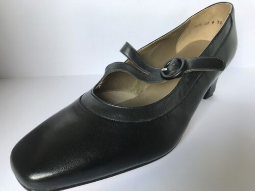 Equity Flame Black/Graphite Leather Strap Court Shoe E Fitting Size 8 UK