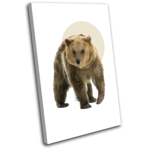 Bear Forest Modern Abstract Animals SINGLE TOILE murale ART Photo Print
