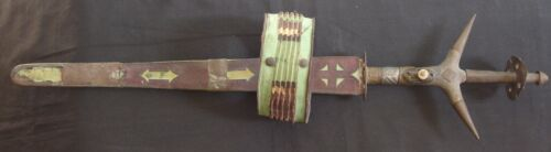 Antique African Tribal Ceremonial Sword Dagger Knife w Ornate Scabbard Arm Band