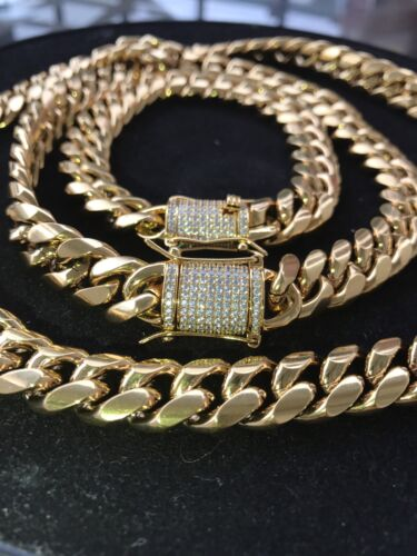 Mens Cuban Miami Link Bracelet & Chain Set  18k Gold Plated 12mm *Diamond Clasp*