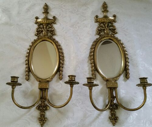Pair Antique Bronze Oval Mirror Double Arm Candle Wall Sconces