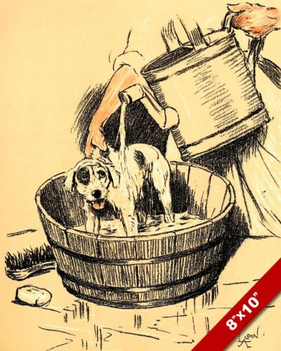 BATH TIME FOR PET PUPPY DOG ANIMAL ART CECIL ALDIN PAINTING PRINT ON REAL CANVAS