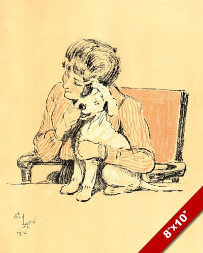 WOMAN & HAPPY PET PUPPY DOG ANIMAL ART CECIL ALDIN PAINTING PRINT REAL CANVAS
