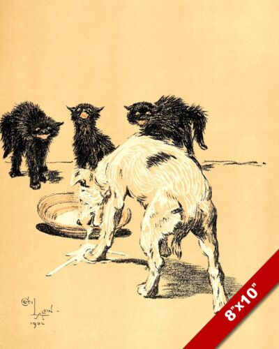 STEALING THE CAT'S MILK PET PUPPY DOG ART CECIL ALDIN PAINTING PRINT REAL CANVAS