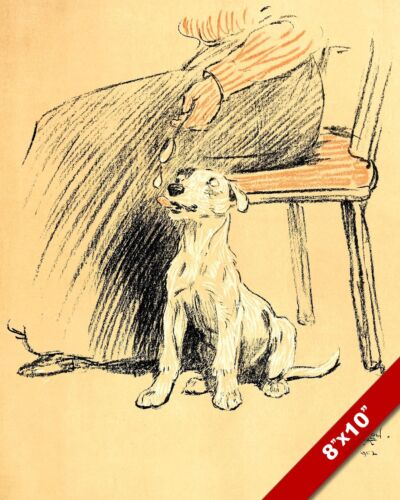 EATING A SCRAP PET PUPPY DOG ANIMAL ART CECIL ALDIN PAINTING PRINT REAL CANVAS