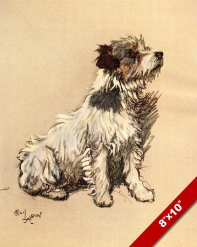 JACK RUSSEL TERRIER PET PUPPY DOG ART CECIL ALDIN PAINTING PRINT ON REAL CANVAS