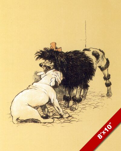 BULLDOG POODLE FIGHT PET PUPPY DOG ART CECIL ALDIN PAINTING PRINT ON REAL CANVAS