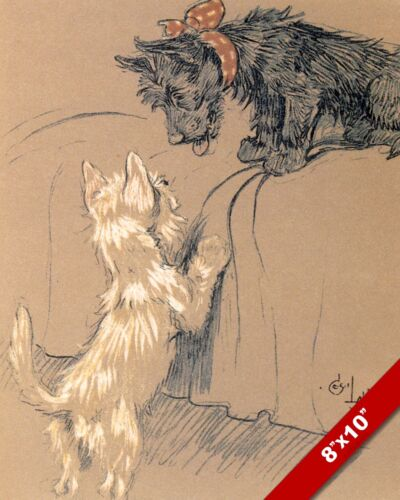 TERRIER FRIENDS PET PUPPY DOG ANIMAL ART CECIL ALDIN PAINTING PRINT REAL CANVAS