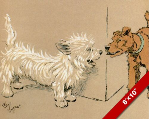 MEETING DOGS PET PUPPY DOG ANIMAL ART CECIL ALDIN PAINTING PRINT ON REAL CANVAS