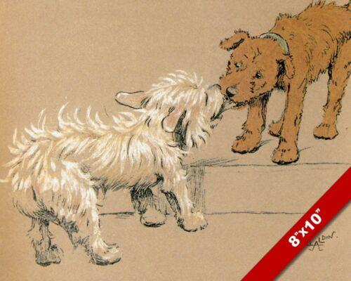 KISS & MAKE UP PET PUPPY DOG ART CECIL ALDIN PAINTING PRINT ON REAL CANVAS