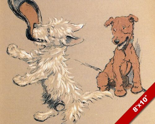 PLAYING WITH A SHOE PET PUPPY DOG ART CECIL ALDIN PAINTING PRINT ON REAL CANVAS