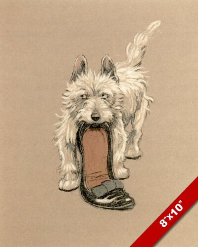TERRIER & SLIPPER PET PUPPY DOG ART CECIL ALDIN PAINTING PRINT ON REAL CANVAS