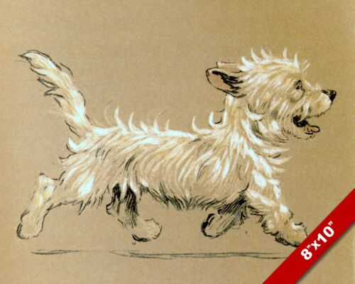 TROTTING TERRIER PET PUPPY DOG ART CECIL ALDIN PAINTING PRINT ON REAL CANVAS