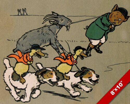 ANIMALS RACING PET PUPPY DOG ART CECIL ALDIN PAINTING PRINT ON REAL CANVAS
