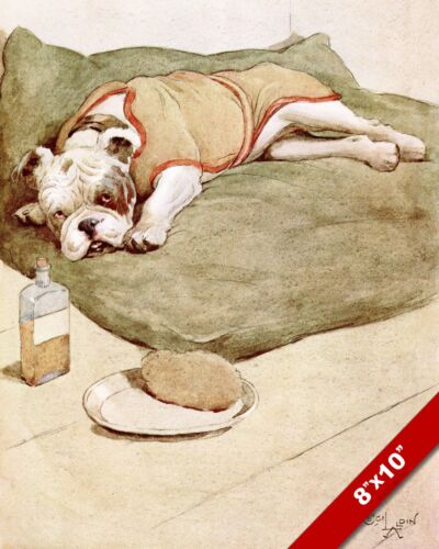 SICK & TIRED BULLDOG PET PUPPY DOG ART CECIL ALDIN PAINTING PRINT ON REAL CANVAS