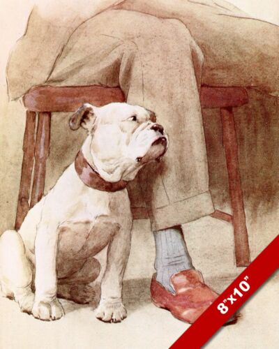BULLDOG & HIS MASTER PET PUPPY DOG ART CECIL ALDIN PAINTING PRINT ON REAL CANVAS