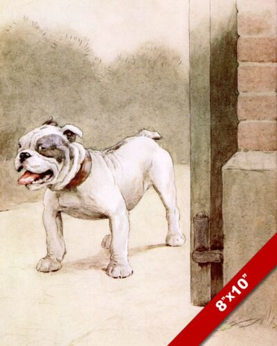 HAPPY OUTSIDE PET PUPPY DOG ANIMAL ART CECIL ALDIN PAINTING PRINT ON REAL CANVAS