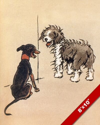 FRIENDLY DOGS PET PUPPY DOG ANIMAL ART CECIL ALDIN PAINTING PRINT ON REAL CANVAS