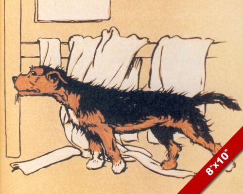IN THE BATHROOM PET PUPPY DOG ART CECIL ALDIN PAINTING PRINT ON REAL CANVAS