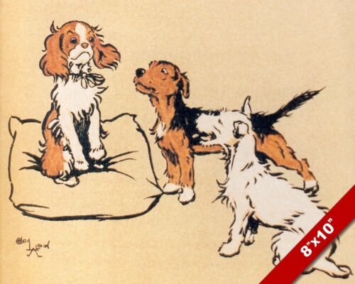 THE SUITORS PET PUPPY DOG ANIMAL ART CECIL ALDIN PAINTING PRINT ON REAL CANVAS