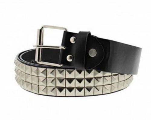 Unisex 3 Row Pyramid Studded Silver Belt Punk Goth One Size Brand New
