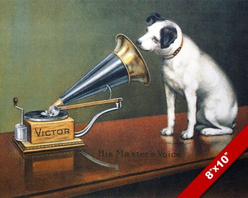 VICTOR RECORD HIS MASTER'S VOICE PET PUPPY DOG ART PAINTING PRINT ON REAL CANVAS